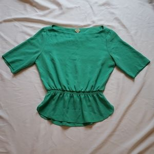 Wilfred boat neck short sleeve peplum top teal xs